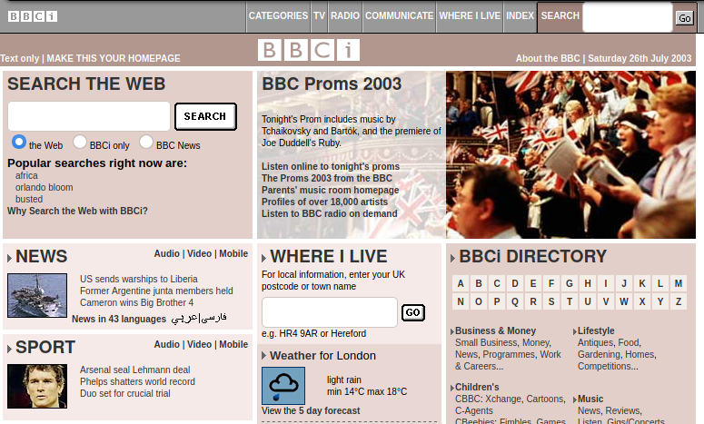 BBCi 2003 July 26th