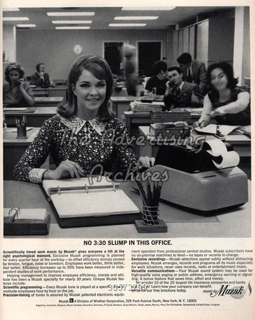 A Muzak advert which proposes to increase productivity