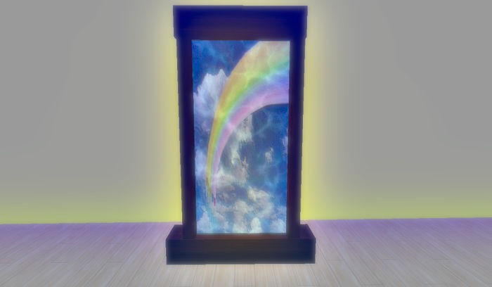 A rainbow portal in a mahogany frame, bloom effect is applied